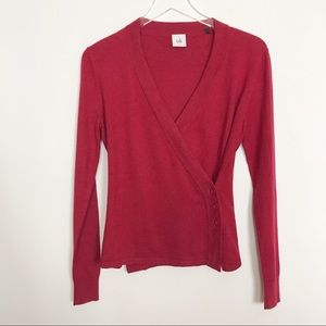 CAbi red ballet style wrap sweater three buttons S